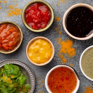 Assorted Indian chutneys