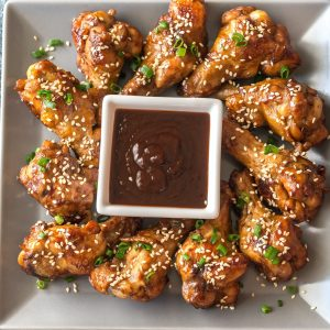 Chicken teriyaki wings with barbecue sauce