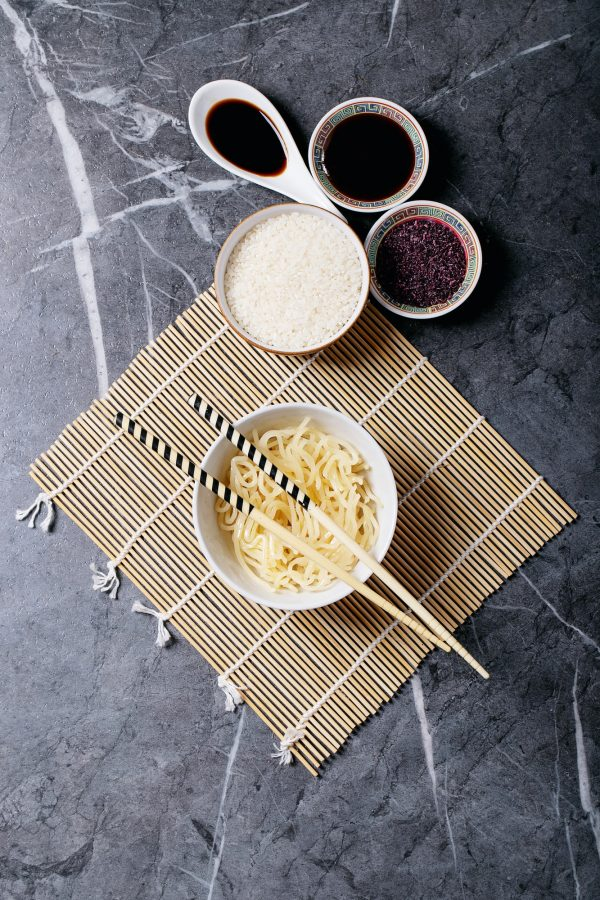 Noodles and rice with teriyaki sauce